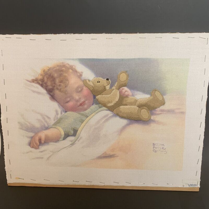 Vintage Hand Embroidered Sleeping Baby Holding Bear Wall Decor Not Framed