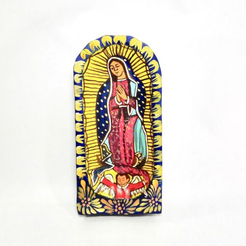 """Our Lady of Guadalupe Carved Wood Batea Dough Bowl Retable Mexican Folk Art 7"""""""