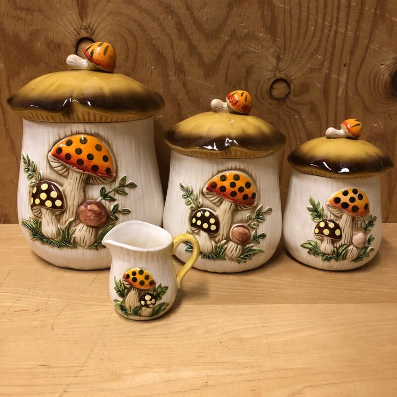 Vintage Ceramic Merry Mushroom Canisters Set of 4 Sears Roebuck and Co 1978