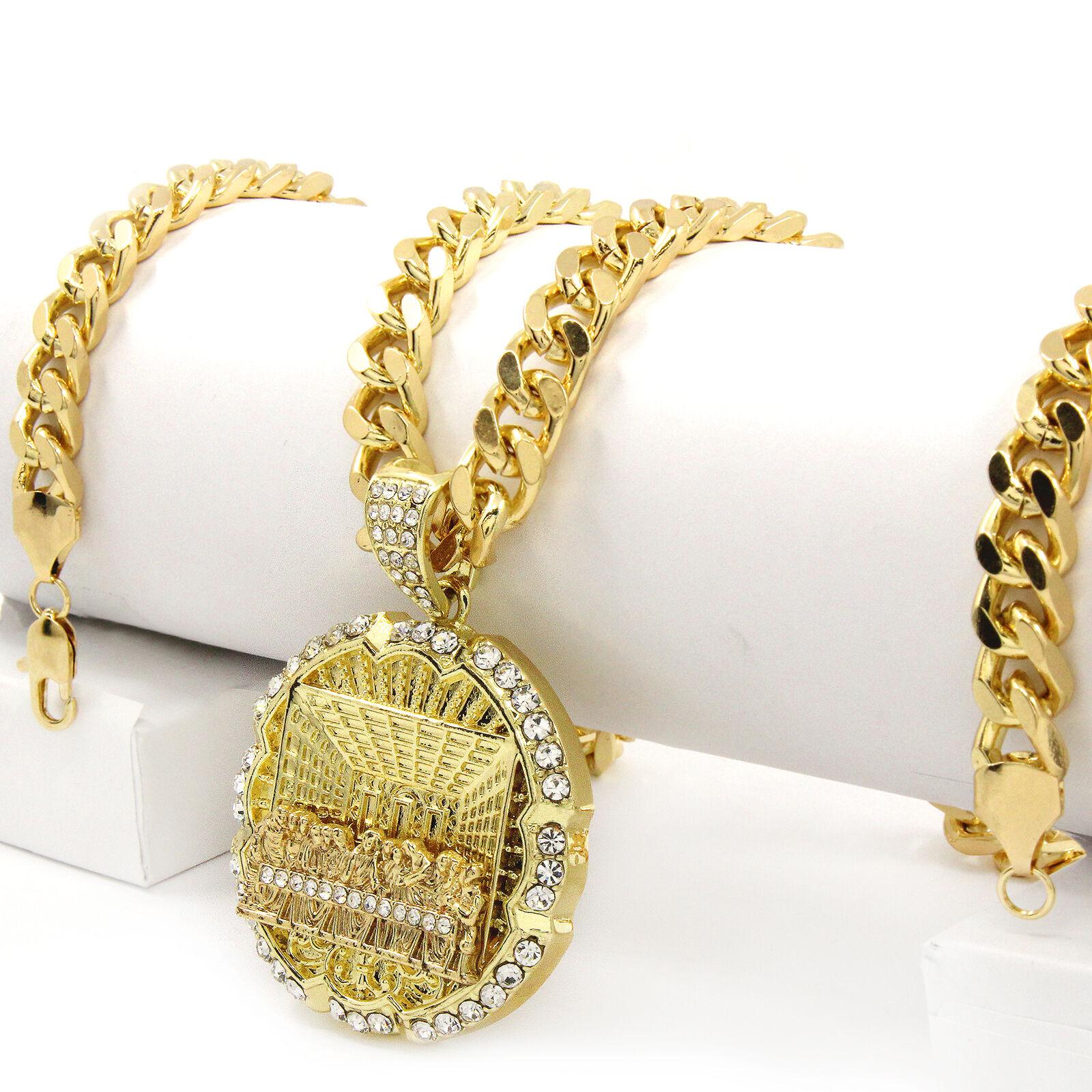 "Jewellery - Men Hip Hop 14k Gold Plated Last Supper CZ Pendant 30"" Cuban Link Chain"