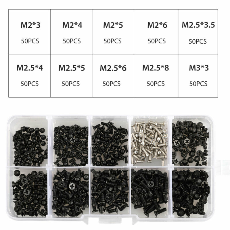 500pcs Laptop Notebook Computer Screw Kit Set For IBM HP Dell Lenovo Samsung PC