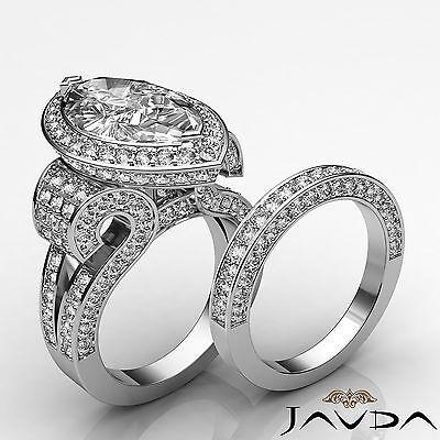 Circa Halo Split Shank Marquise Diamond Engagement Bridal Set Ring GIA G SI1 5Ct