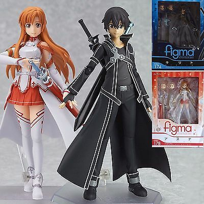 2pcs Sword Art Online SAO Kirito + Asuna Action Figur Anime Spielzeug Sammlung (Sword Art Asuna)