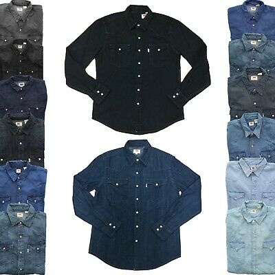 Levi's Levi Strauss Mens Barstow Denim Pearl Snap Button Down Western (Denim Western Snap)