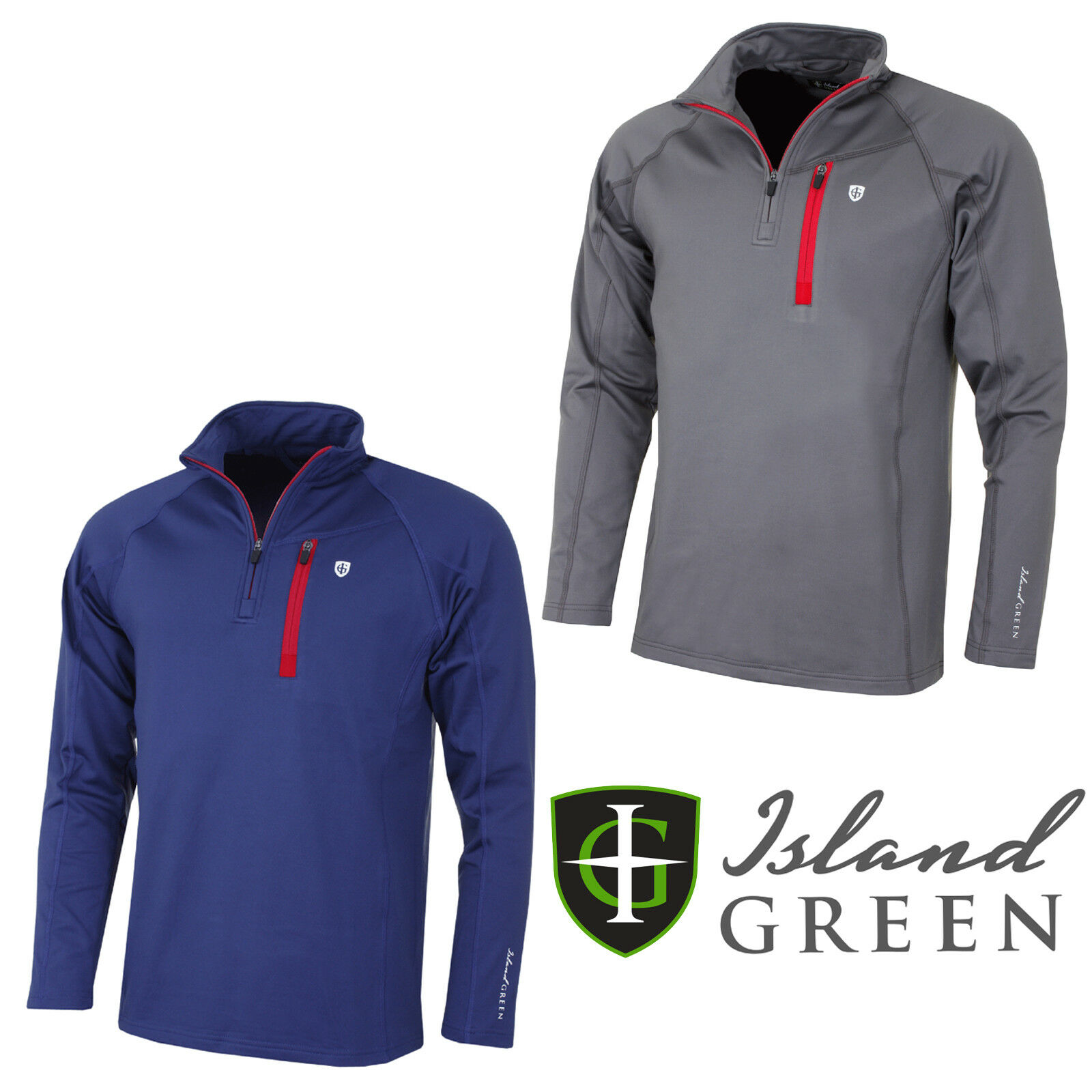Island Green Mens Casual Thermal 1//4 Zip Pullover Mid Layer Jacket IGMID1721