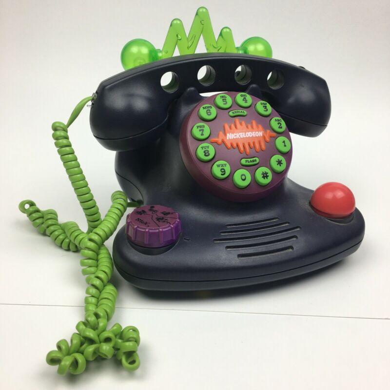 1997 Nickelodeon Talk Blaster Land Line Telephone Purple/Green