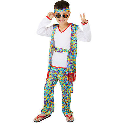Jungen Halloween-kostüme (Jungenkostüm Hippieboy Karneval Fasching Halloween Junge Kinder Peace 70er bunt)