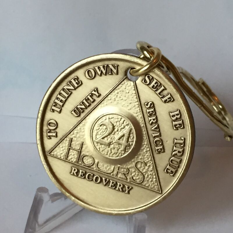 24 Hours AA Medallion Key Chain Chip Key Tag Serenity Prayer Hours