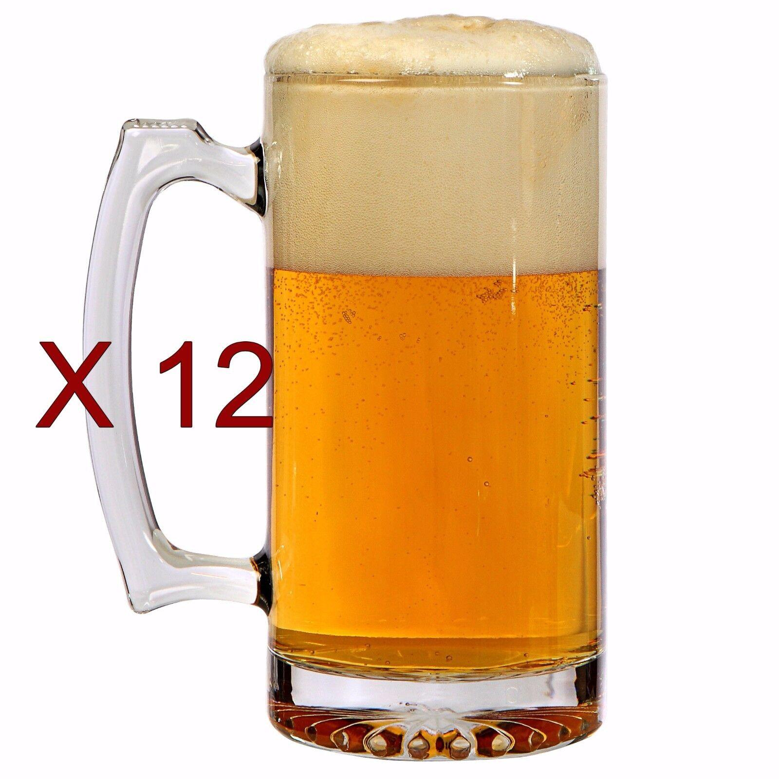 12 Glass Sports Beer Mugs, 16 oz. Glass Mug Set New Dinner P