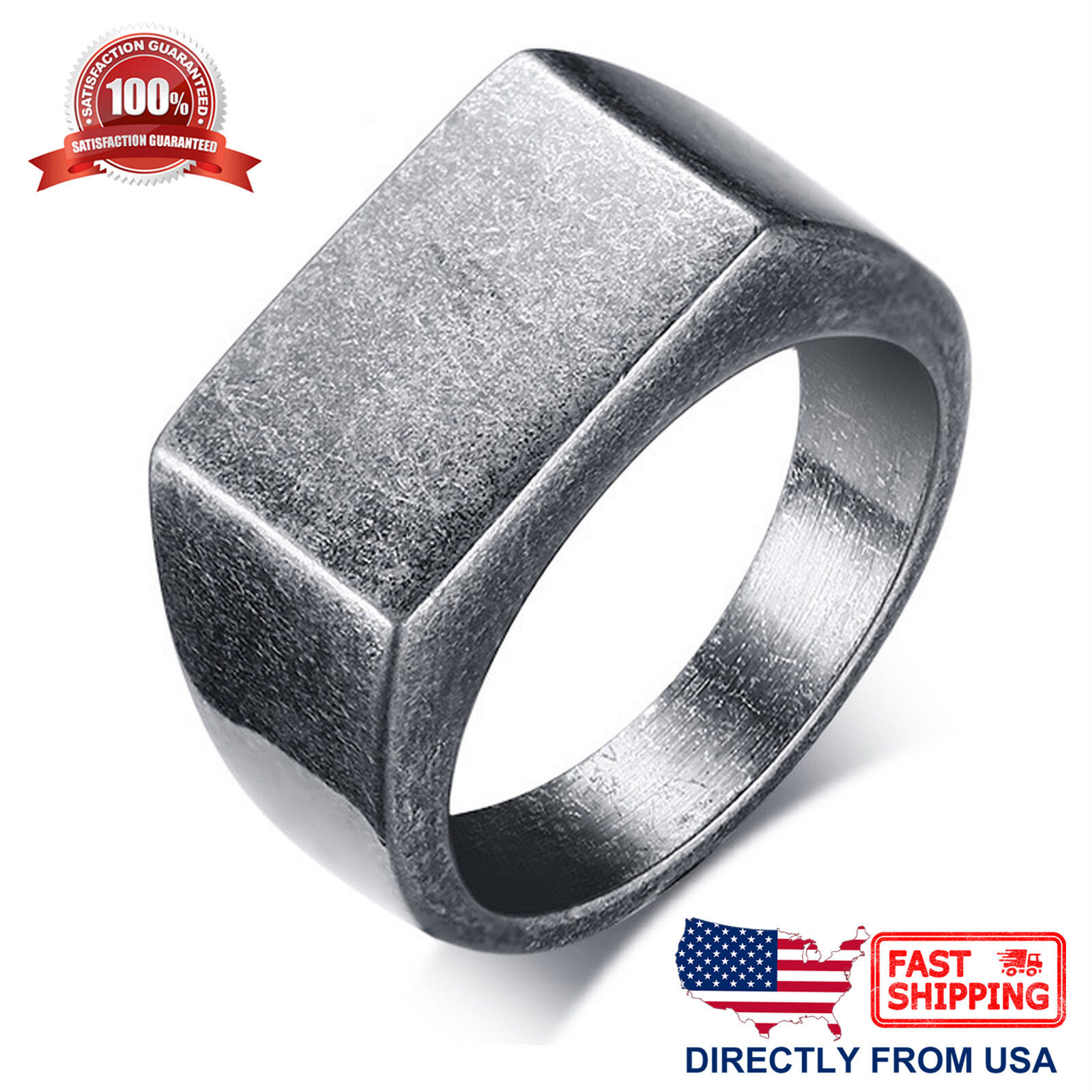 Men's Stainless Steel Retro Signet Ring Jewelry & Watches