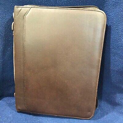 Wilsons Leather Zippered Business Portfolio Binder Vintage Brown Very Nice