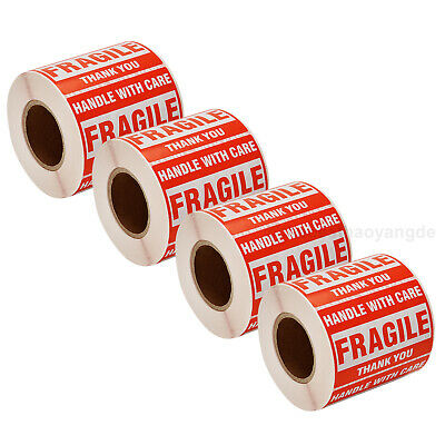4 Rolls - Fragile Stickers Handle With Care Thank You 2x3 500pcs Per Roll Us