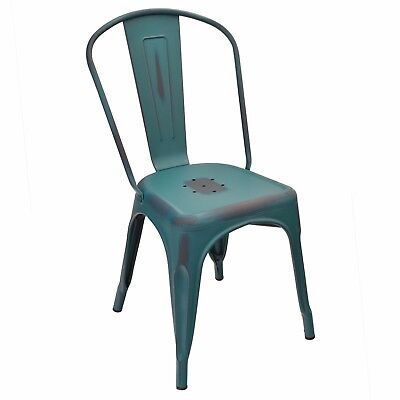 New Oversized Viktor Steel Restaurant Chair With Distressed Kelly Blue Finish