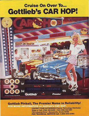 Gottlieb CAR HOP Original 1990 NOS Flipper Game Pinball Machine Promo Sale Flyer