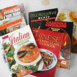 7 RECIPE AND COOKING CLASS BOOKS IN VERY GOOD COND.