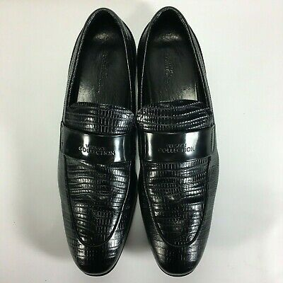 Versace collection black lizard print leather loafers men shoes size 9 US 42 EU
