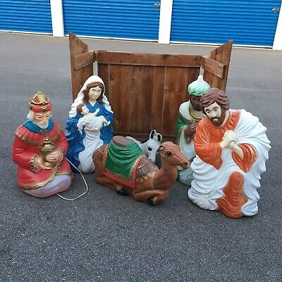 VTG. 6 Pc Set Nativity Scene Blow Mold Set General Foam