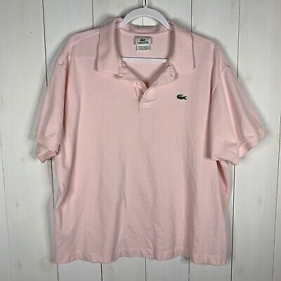 Lacoste Mens Pink Size 8 Short Sleeve 1/4 Button 100% Cotton Casual Polo Shirt