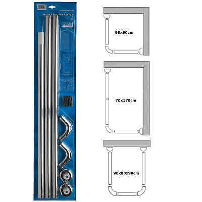 Duschvorhang U & L-FORM ECKE Schiene 3-fach 28mm Durchmesser Rod poliger Bade (Dusche Vorhang Rod Ecke)