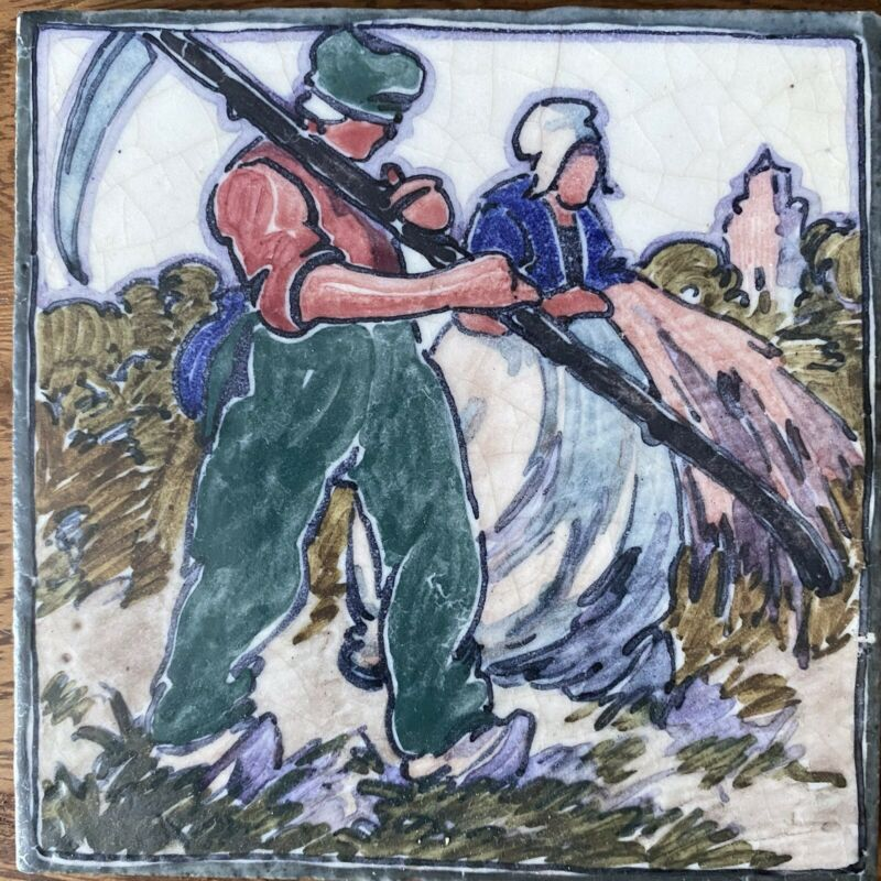 Hand-painted Carter tile from 'Coloured Dutch' series by Joseph Roelants c.1915