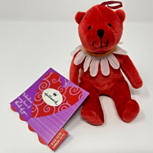 "Hallmark 5"" Red Valentines Bear Plush Stuffed Animal Flower Ornament"