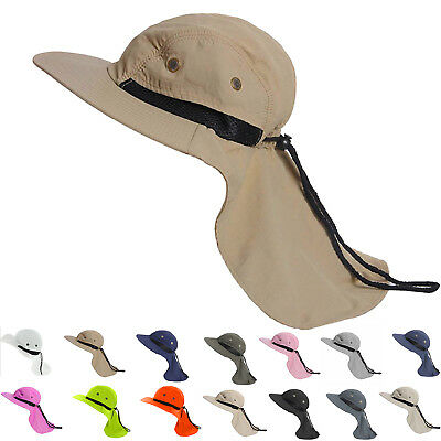 Boonie Mens Hat Brim Neck Cover Sun Flap Cap Summer Fishing Garden Outdoor -