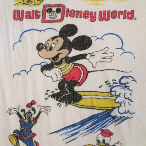 Vtg Walt Disney World Beach Towel Souvenir Mickey Mouse Surfing