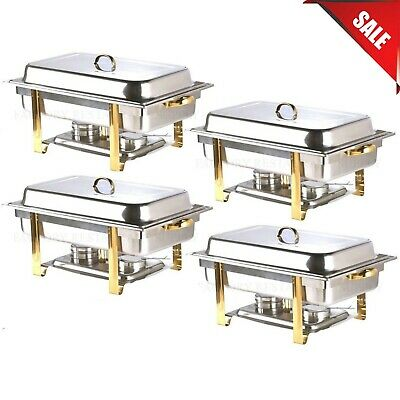 4 Pack Deluxe Full Size 8 Qt Gold Stainless Steel Buffet Chafer Chafing Dish Set