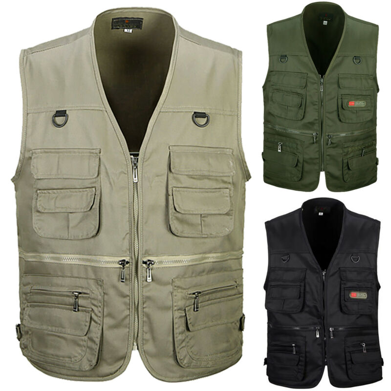 Men Multi Pocket Outdoor Vest Fishing Hiking Photography Wai