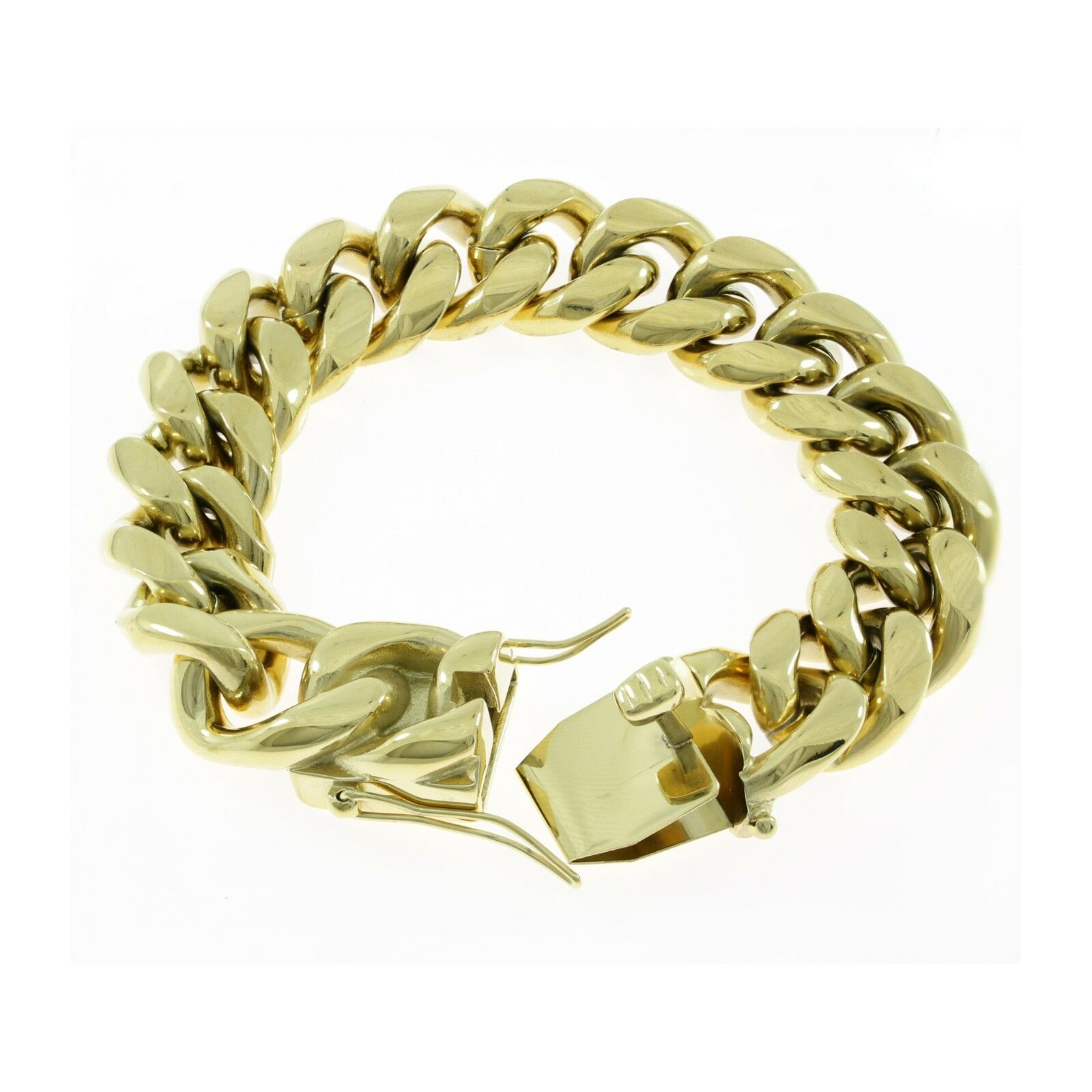 c9dff175805f6 18mm Men's Miami Cuban Link Bracelet 14k Gold Plated Stainless Steel ...