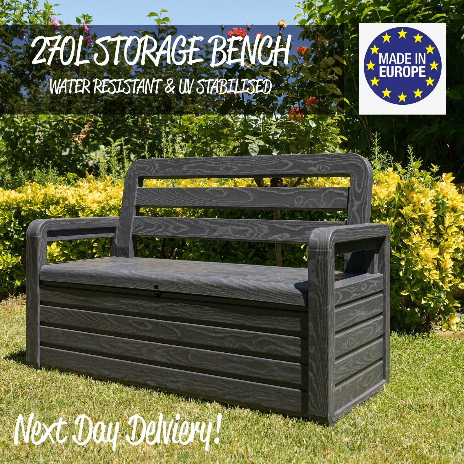 Picture of: Outdoor Indoor Storage Box Bench Seat 270l Garden Chest Plastic Furniture Ebay