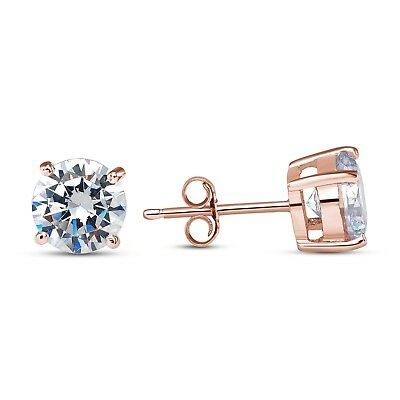 925 STERLING SILVER SOLITAIRE CZ PUSH BACK STUD EARRINGS ROSE GOLD PLATED