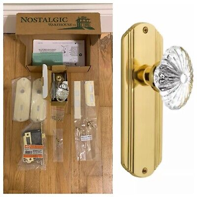 Nostalgic Warehouse Crystal Glass Mortise Door Set with Deco Plate, (Warehouse Glasses)
