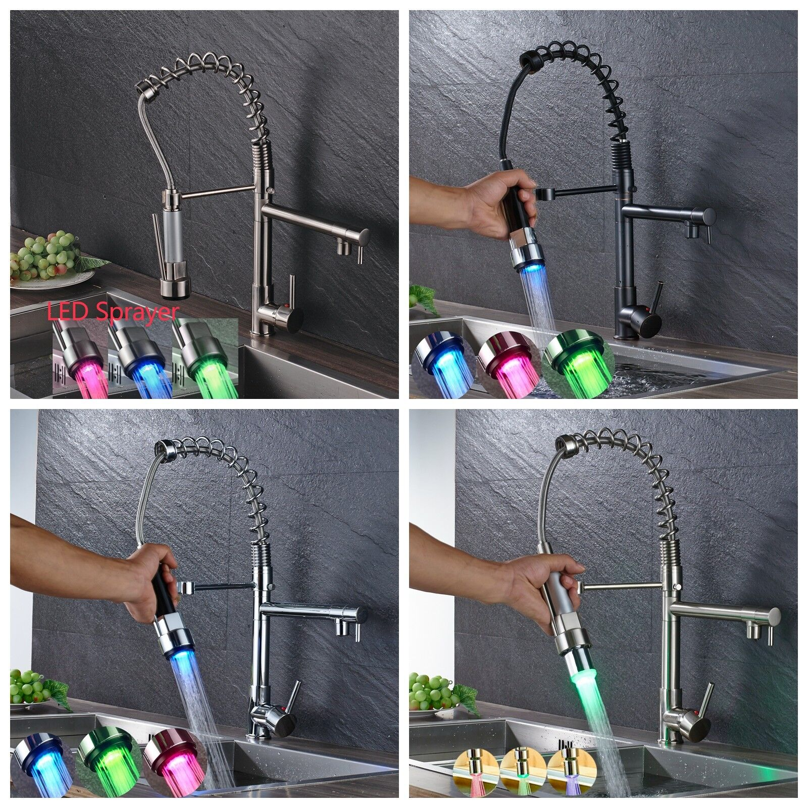 Kitchen Faucet Pull Out Sprayer Swivel Spout Sink Mixer Tap