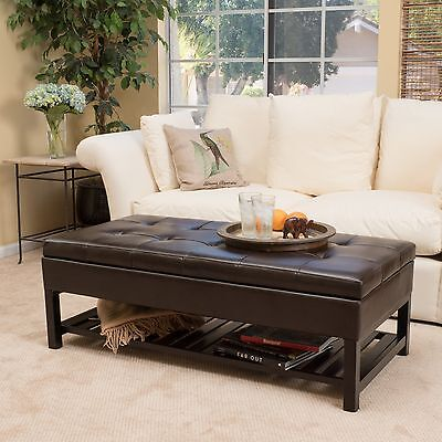 Contemporary Brown Wood Rectangle Storage Ottoman Coffee Table with Bottom Rack