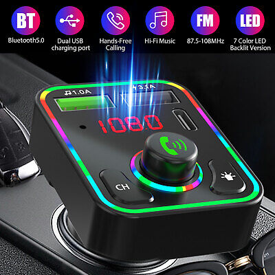 Bluetooth 5.0 Car Wireless FM Transmitter Adapter 2USB PD Charger AUX Hands-Free