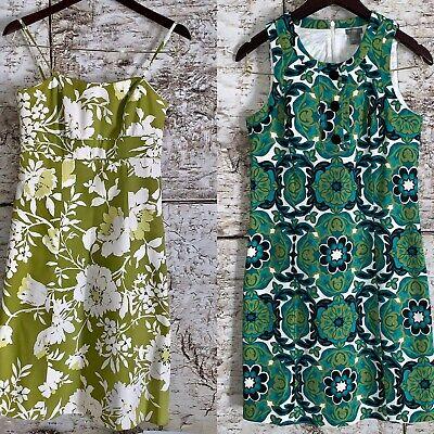 Ann Taylor Women's Size 2 Sleeveless Dresses Green Printed Floral Dresses