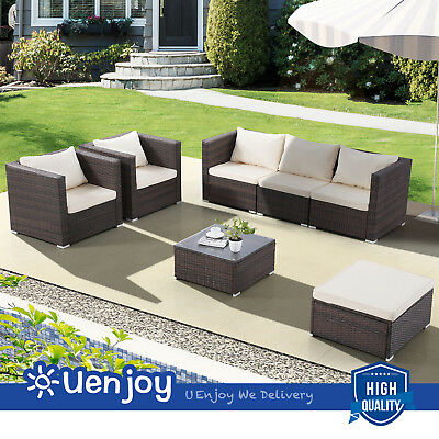 7 Piece Brown Patio PE Rattan Wicker Sofa Set Garden Furniture Backyard Outdoor
