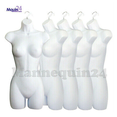 5 White Mannequin Female Torsos - Lot Of 5 Plastic Hanging Dress Forms