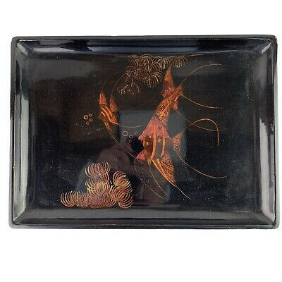 VINTAGE VIETNAMESE LACQUERED TRAY WITH ART DECO FISH DESIGN ARTEXPORT TAN HONG