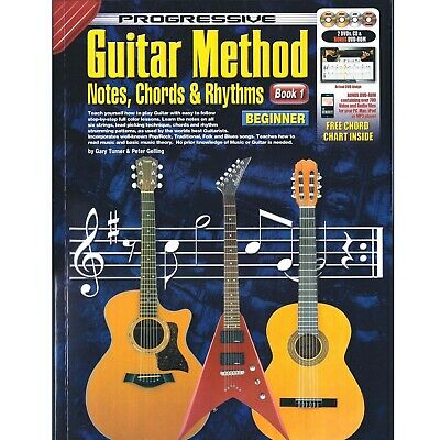 Learn To Play Guitar Progressive Method Book 1 For Beginners Tutor CD & DVDs F2