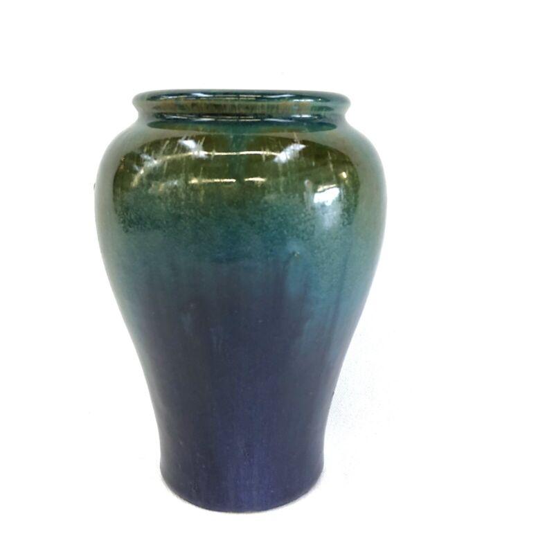 """Vtg 6.5"""" Fulper Art Pottery Vase Crystalline Blue Green Purple Glaze"""