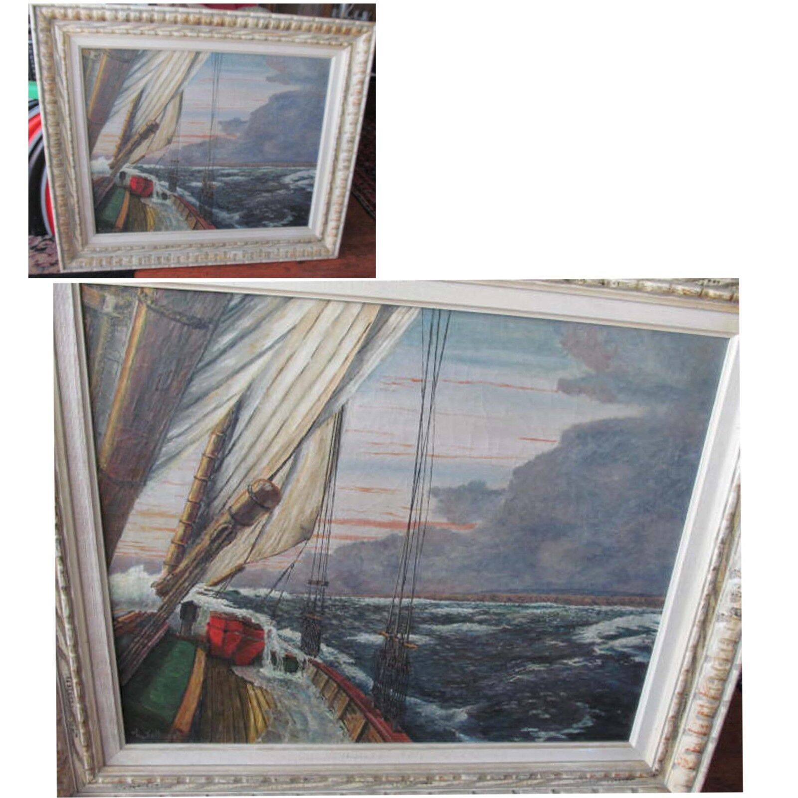 Beautiful Vintage Seascape Oil Painting Signed L.Tolhurst Waves Breaking On Bow - $350.00