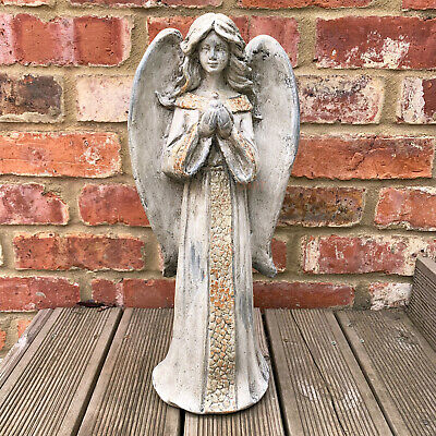 Tall Vintage Resin Outdoor Garden Angel With Dove Bird Statue Ornament Large