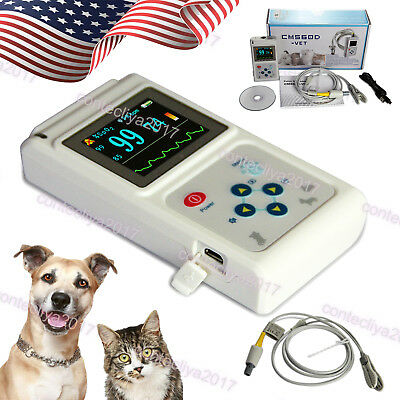 Us Seller Veterinary Pulse Oximeter Spo2 Heart Rate Monitor Vet Eartongue Probe