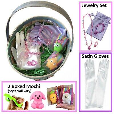 Girl Easter Baskets (Girl's Satin Gloves, Pastel Jewelry Set & 2 Mochi-Easter Basket)
