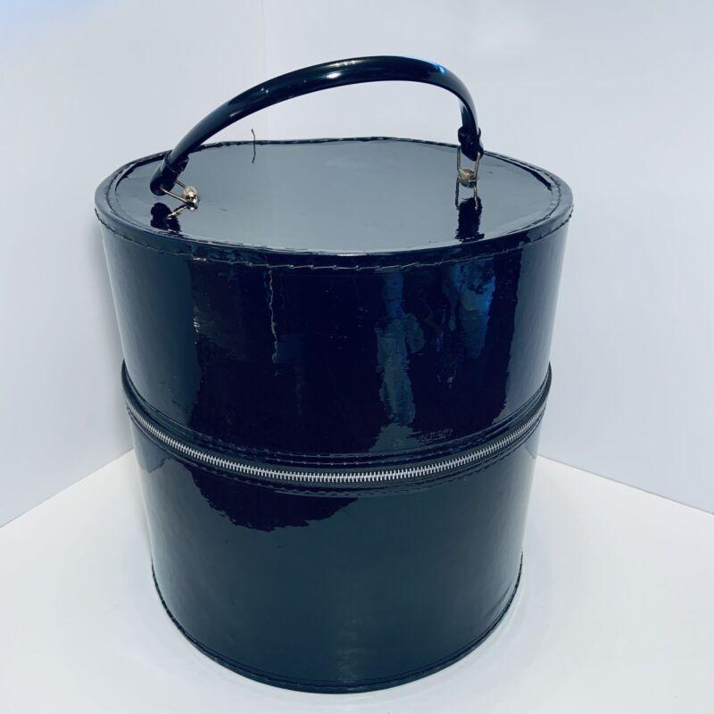 Vintage BLACK VINYL Round Hat Box Round Wig Hat Case Zippered