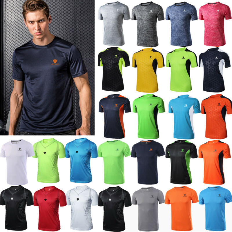 Herren Sommer T-Shirt Trainings Kurzarm Shirt Sportshirt Fitness Muskelshirt Top