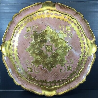 Large 35cm Vintage Florentine Tray Italian Art Gold & Pink Tole Wood Italy Round