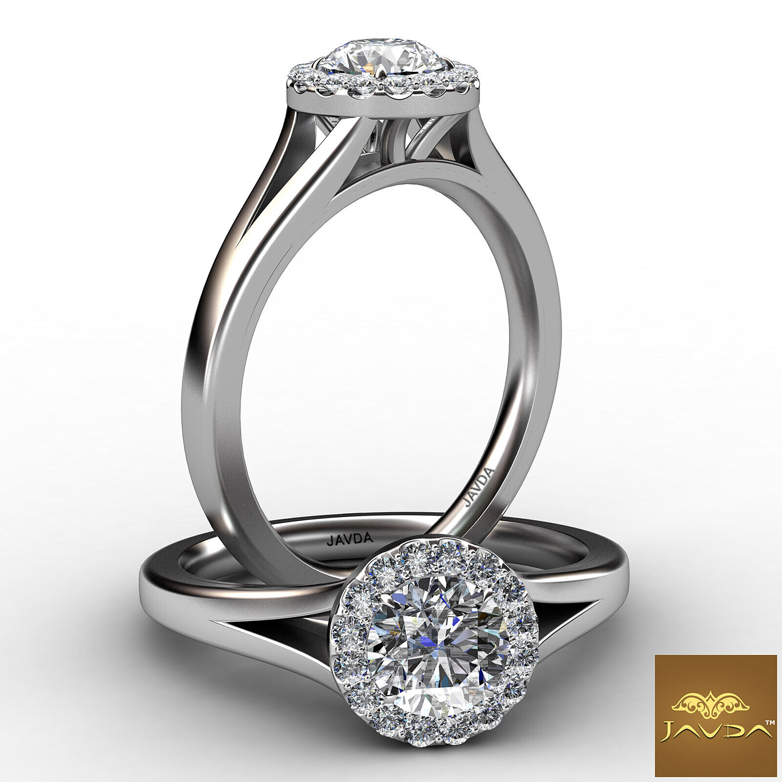 French Pave Set Halo Round Diamond Engagement Split Shank Ring GIA F VS1 0.7 Ct